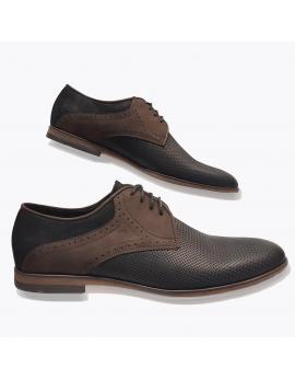 Kožená tmavo hnedá vychadzková pánska obuv LEEX Resident