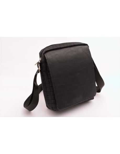 Pánske crossbody čierna káro textilná/koženka