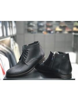 Pánske elegantné kožené topánky zimné čierne