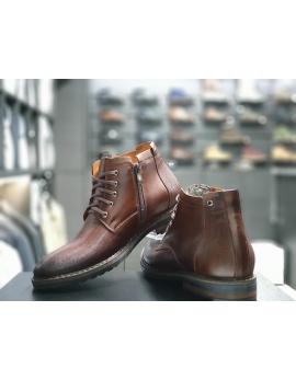 ff81b37e4b31 Pánske elegantné kožené topánky zimné hnede