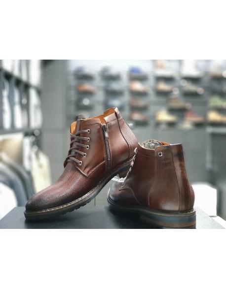 1507e4384d Pánske elegantné kožené topánky zimné hnede