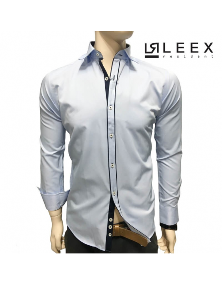 Extravagantná košeľa slim fit modrá s granátovou légou Ermando Emilio by Pako Lorente