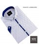 Vzorovaná košeľa s krátkym rukávom s modrým lemom