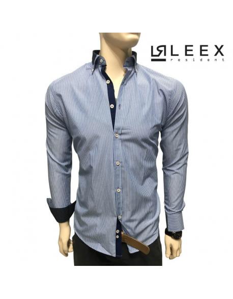 Prúžkovaná košeľa slim fit modrá s lemom na golieri Pako Lorente