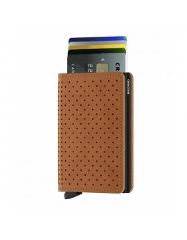 Peňaženka Slimwallet od SECRID - koňaková perforovaná, kožená
