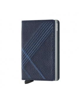Peňaženka Slimwallet od SECRID - modrá s prešívaním, kožená
