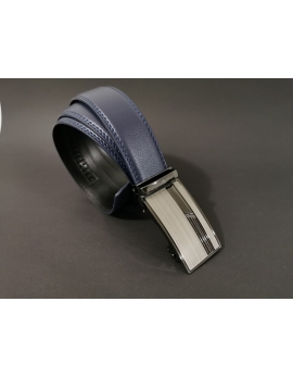 Pánsky kožený opasok s automatickou prackou modrý