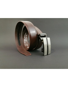 Pánsky kožený opasok s automatickou prackou hnedý