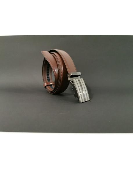 Pánsky kožený opasok s automatickou prackou tmavohnedý