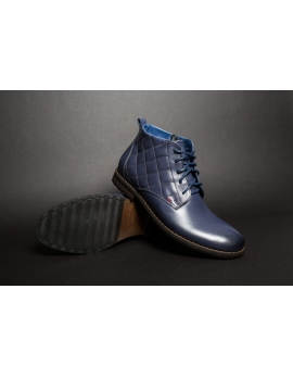 Pánske modré zateplené kožené topánky Leex Resident