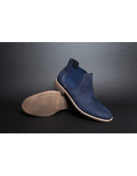 Pánske Modré kožené Chelsea topánky