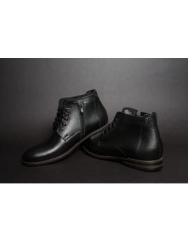 Pánske čierne zateplené kožené topánky -Leex Resident