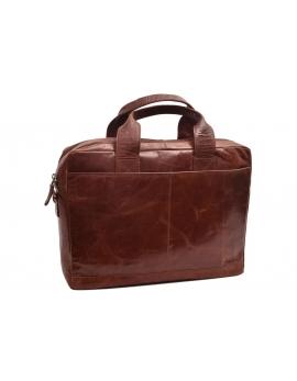 Kožená taška na notebook koňak