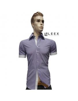 Košeľa s krátkym rukávom fialová oxford s dvojitým golierom