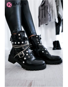Dámske čierne topánky - workery KAREN