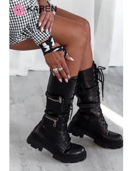 Dámske čierne čižmy - workery LARGO