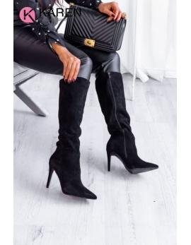 Dámske čierne vysoké čižmy EMMA