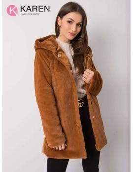 Dámsky kožušinový hnedý kabát RP