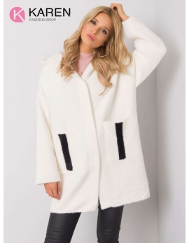 Dámsky biely kabát alpaka NEXT