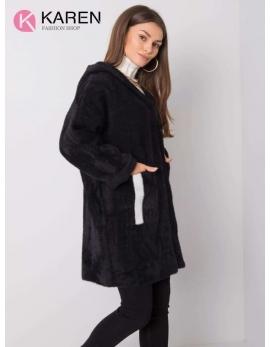 Dámsky čierny kabát alpaka NEXT