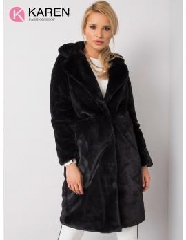 Dámsky kožušinový čierny kabát NAVIA