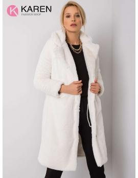 Dámsky kožušinový biely kabát NAVIA