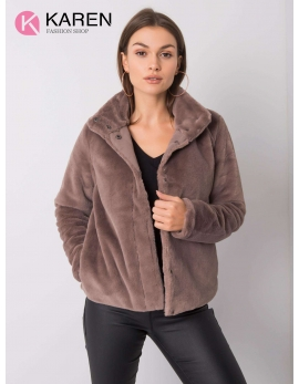 Dámsky kožušinový hnedý kabát KAYA
