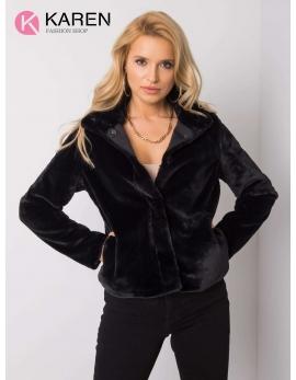 Dámsky kožušinový čierny kabát KAYA