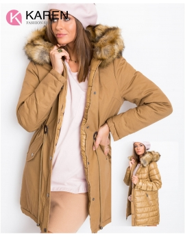 Dámska obojstranná zimná bunda HAYDEE hnedá - zlatá