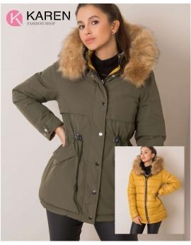 Dámska obojstranná zimná bunda HAYDEE zelená - žltá