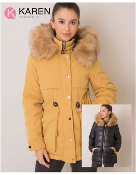 Dámska obojstranná zimná bunda HAYDEE žltá - čierna