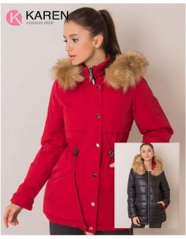 Dámska obojstranná zimná bunda HAYDEE červená - čierna