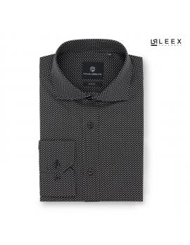 Pánska čierna košeľa s bielymi bodkami