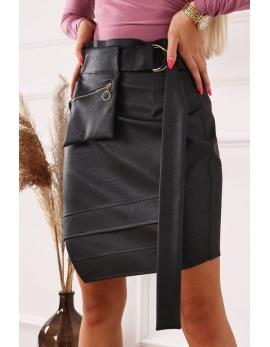 Dámska béžová kožená sukňa BG POCKET