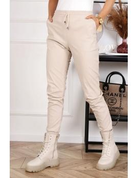 Dámske biele kožené nohavice JOGGER leather plus BG