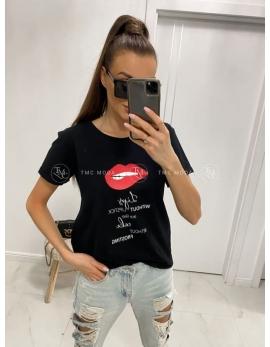 Dámske čierne tričko LIPS