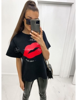 Dámske čierne tričko RED LIPS
