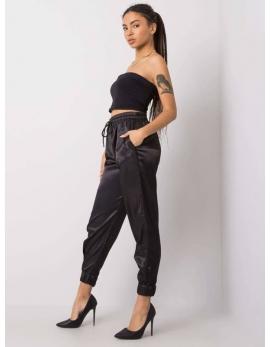 Dámske čierne saténové nohavice ELEANOR