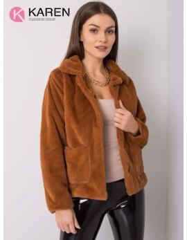 Dámsky kožušinový hnedý kabát NYLA