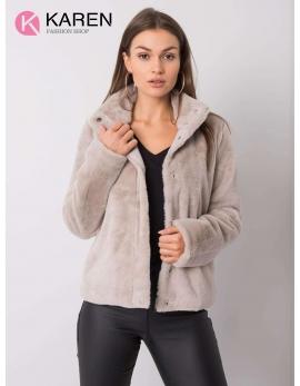 Dámsky kožušinový béžový kabát KAYA