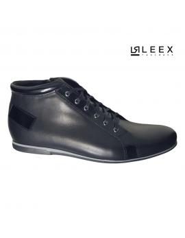 Pánske čierne zateplené kožené topánky Leex Resident