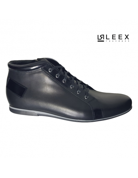 Leex Resident -pánske čierne zateplené kožené topánky