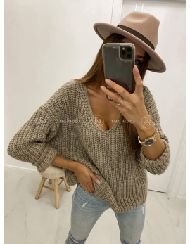 Dámsky hnedý sveter V-DION
