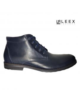 Pánske modré zateplené kožené topánky Leex