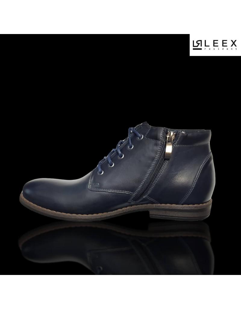 14751799ff038 ... Leex Resident -pánske modré zateplené kožené topánky