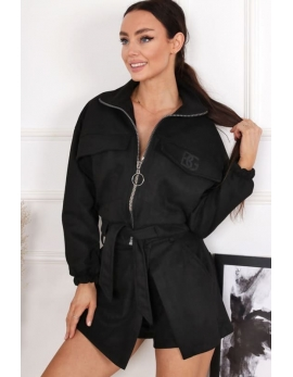 Dámska čierna semišová bunda BG PREMIUM SUMMER