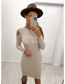 Béžové pletené šaty OLENA
