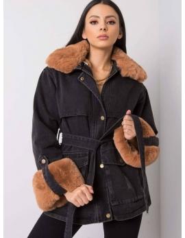 Dámska rifľová zimná bunda s kožušinou FEDERICA