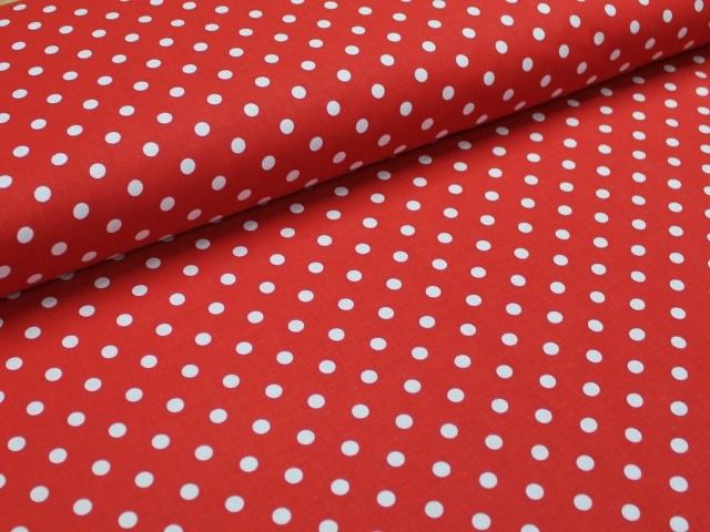 Červená s bodkami
